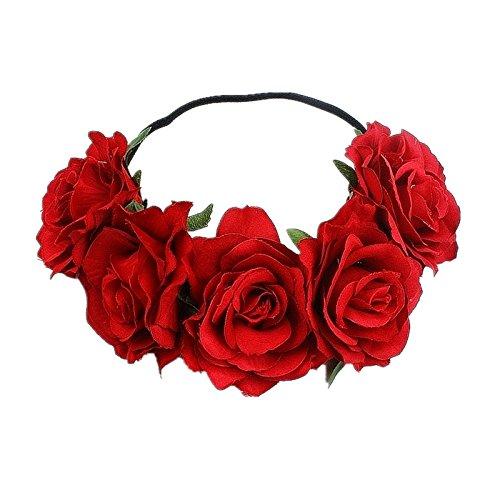 CHSEEO Corona de Flores Diadema Floral Elástica Guirnalda Flores Pelo Venda de Pelo Cinta de Pelo Cabeza Hairband Vinchas Headpiece para Festival Fiesta de Boda Fotografía #3
