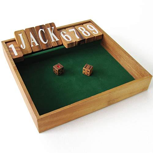 CIERRA LA CAJA edición Jackpot Juego de bar – Juegos de mesa en madera maciza eco-responsable – Acción y suerte – 2 jugadores o más – A partir de 6 años – Juego con dados. Shut the Box.