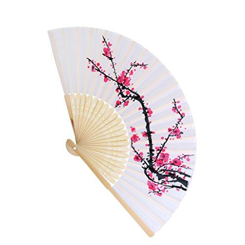 Ciruela Japonesa De Bambu Plegable Flor De La Mano Del Bolsillo Del Ventilador Celebrada Decoracion De La Boda Del Ventilador