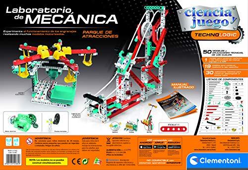 Clementoni Ciencia y Juego- Laboratorio de Mecánica-Parque de Atracciones Juego de Construcción, Multicolor (55385)