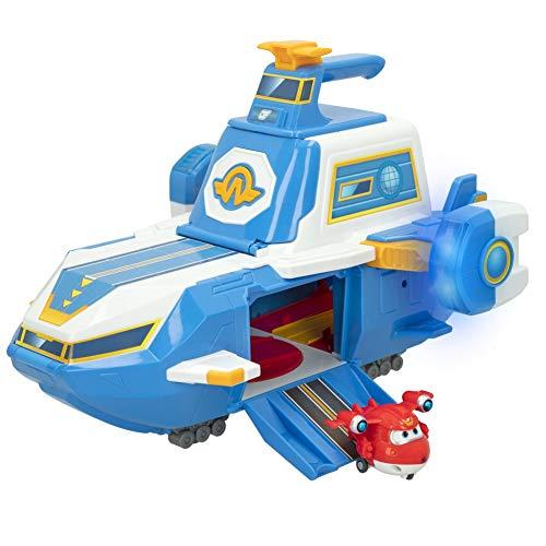 ColorBaby Super Wings - Portaviones Mundial con luz, Sonido y con Figura Jet Super Wings transformable en Robot y avión, Juguetes transformables, Juguetes educativos, Juguetes niños 3 años