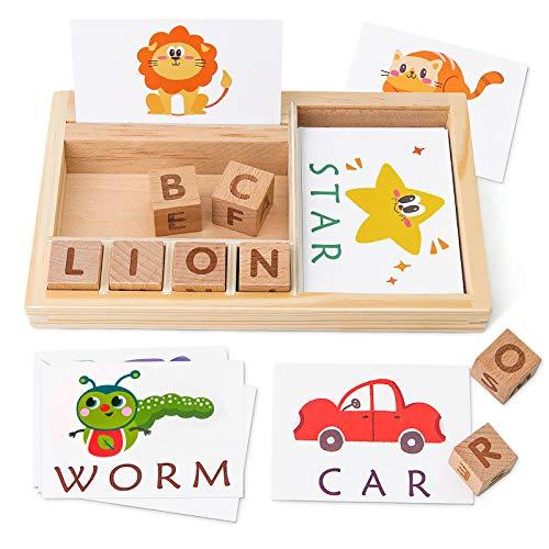 Coogam Juegos de ortografía, Juego de Letras de Madera con Tarjetas de Vocabulario, alfabetos ABC Aprendizaje Educativo Montessori Regalo para niños 3 4 5 años