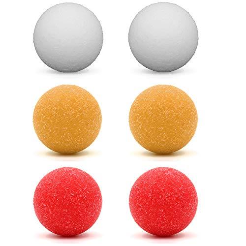 COSDDI 6 futbolines oficiales con textura clásica de 36 mm para mesas de futbolín estándar y pelotas clásicas de fútbol (rojo, blanco y amarillo)