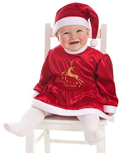 Creaciones Llopis Traje Baby Noel - Disfraz Papá Noel Bebé Niño - Disfraz Mamá Noel Bebé Niña (Baby Noel Reni Niña, 0-6 Meses)