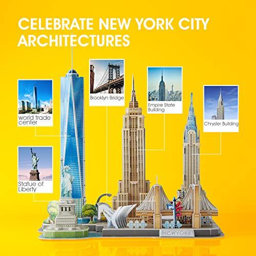 CubicFun Puzzle 3D New York CityLine Maquetas para Montar Paisaje Urbano, 123 Piezas