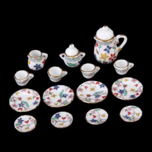 Dcolor 15 piezas en miniatura de comedor casa de munecas de porcelana vajilla juego de te vajilla placa Copa Impresion floral colorida