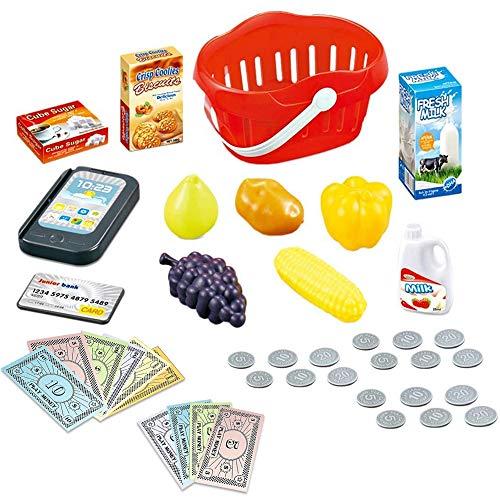 deAO Caja Registradora Electrónica de Juguete Escáner con Lector Real y Lector de Tarjetas Conjunto de Accesorios de Tienda y Supermercado Infantil Incluye Alimentos de Juguete