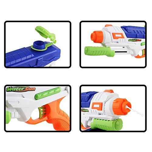 deAO Pistolas de Agua Conjunto de 2 Diseños con Tanque de Reserva Integrado Actividades Infantiles de Verano y Juegos al Exterior para Niños y Niñas