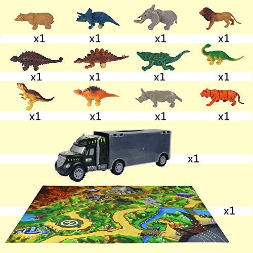 Dinosaurios Juguetes de Coches Camión Transporte con Tapete de Juego 12 Piezas Dinosaurios Animales Figuras Almacenamiento Juguetes Educativos para Niños Niñas 3 4 5 Años
