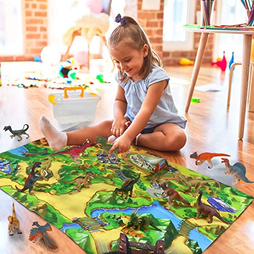 Dinosaurios Juguetes Figuras 16 Piezas Animales Juguetes Juego Educativo de Figura con Manta Juegos de Actividades Regalos para Niños Juguetes Niños 3 4 5 6 7 Años