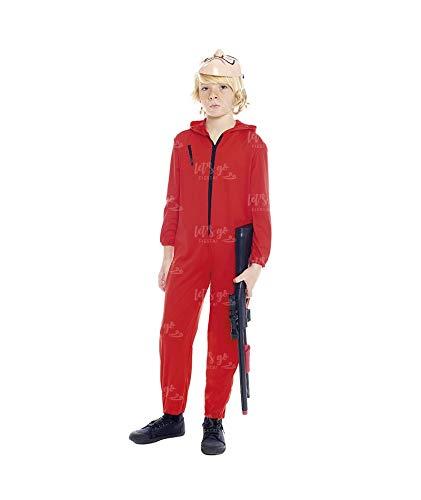 Disfraz Atracador Niño con Máscara Mono Rojo Cremallera Infantil (10-12 años) (+ Tallas) Carnaval y Halloween