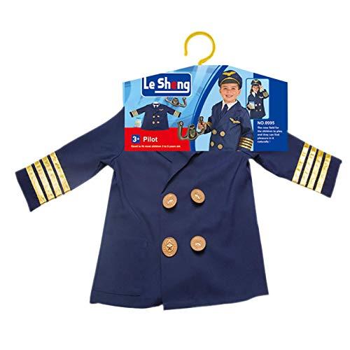 Disfraz de piloto infantil, Capitán de avión infantil Piloto Juego de rol Traje de cosplay Conjunto de ropa con accesorios realistas, chaqueta, gorro, corbata, alas, yugo de dirección, edades 3-6 años