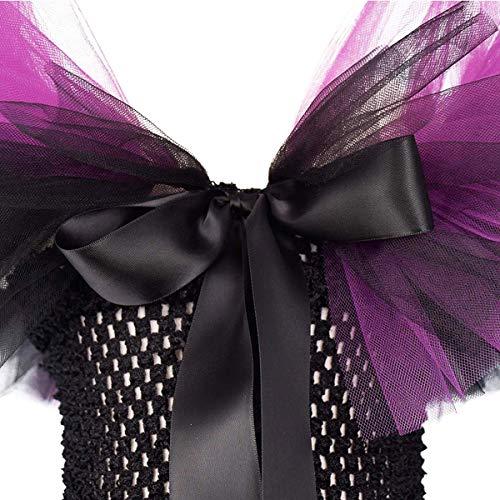 Disfraz de princesa maléfica para niñas, vestido de tul y de punto hecho a mano con cuernos y alas de bruja malvada para Halloween, Carnaval, cosplay o fiestas