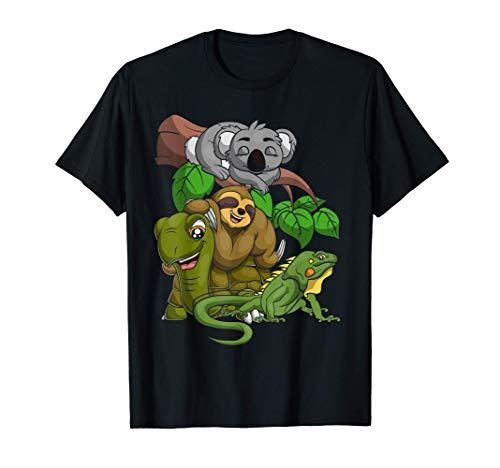 Divertido Coala Perezoso Tortuga Iguana Escuadra Zoo Animal Camiseta