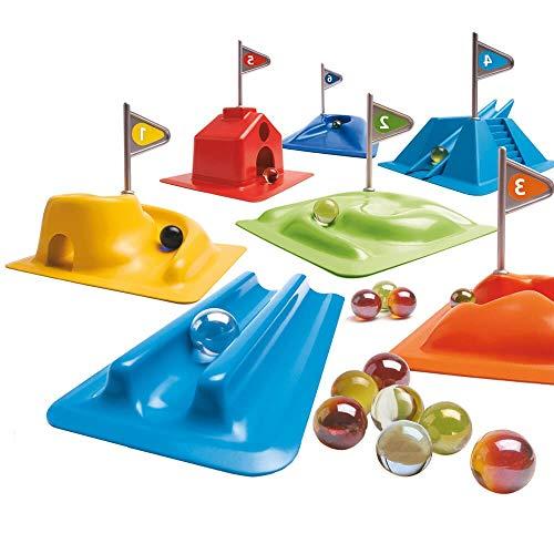 Djeco- Juegos de acción y reflejosJuegos de habilidadDJECOJuego Habilidad Golfy-Minigolf con canicas, Multicolor (1)
