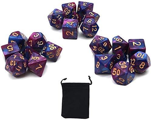 DollaTek Dados poliédricos Juego de Mesa Juegos de Dados 3 Juegos de Dados 3 x 7 (21 Piezas) Serie de Dados D20 D12 D10 D8 D6 D4 Dados DND DND RPG MTG Colores Dobles Una Pieza (púrpura y Azul)