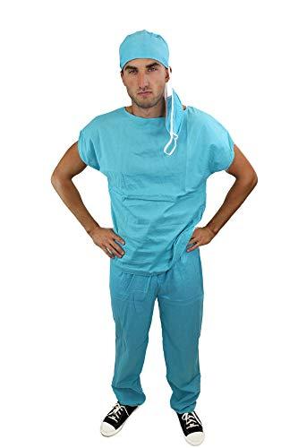 DRESS ME UP K45, Disfraz de médico doctor cirujano atractivo bata de OP, Azul, talla L - 52 EU