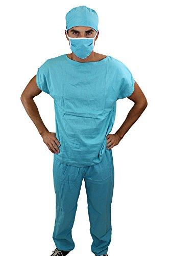 DRESS ME UP K45, Disfraz de médico doctor cirujano atractivo bata de OP, Azul, talla XL - 56 EU