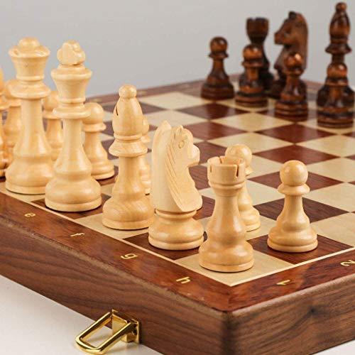 DUWIN Juego de ajedrez de Madera,Piezas de ajedrez Hechas a Mano,Tablero de ajedrez Plegable con Tablero de Juego de ajedrez de Viaje de Almacenamiento Interior Plegable portátil,39 * 39CM