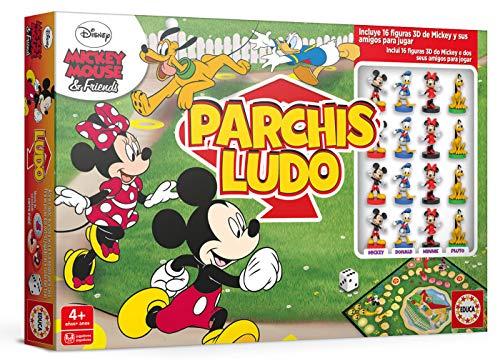 Educa Borrás- Parchís Ludo Mickey y amigos, con figuras 3D de los personajes, a partir de los 4 años (18343) , color/modelo surtido