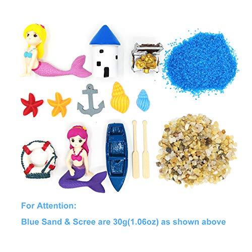 EMiEN - Figuras de sirena en miniatura para decoración de casa de muñecas y jardín de hadas en miniatura, accesorios de jardín de hadas, arena azul, castillo, sirena, tesoro, barco
