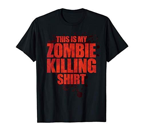 Esta es mi camisa de matar zombies Halloween divertido Camiseta