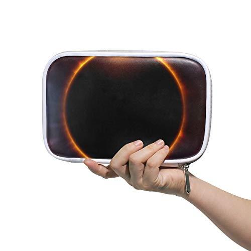 Estuche de lápices Bolso cosmético de cuero Universo Espacio Organizador de eclipse solar total Gran capacidad para la escuela de viajes