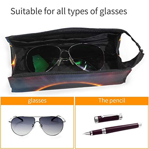 Estuche para lápices Gafas de sol Universo Espacio Eclipse solar total Cosméticos Estudiantes Papelería Bolsa Cremallera para niñas Niños