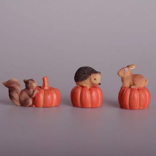 EXCEART 3 Piezas Miniatura Jardín de Hadas Ornamento de Estilo Japonés Erizo Calabaza Ardilla Conejo Mini Estatuilla de Pastel Bonsai Estatua para Bricolaje Musgo Paisaje Suministros