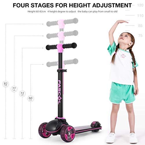 Fascol Patinete de Tres Ruedas para Niños de 3 a 12 Años, Luces LED, Scooter Plegable y Barra Ajustable en T, Carga Máxima 50 kg