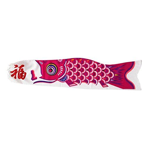 FLAMEER Koinobori Koi Nobori Carp Windsock Streamer Koi Nobori Fish Flag 15-90cm - Rosa roja, 90cm
