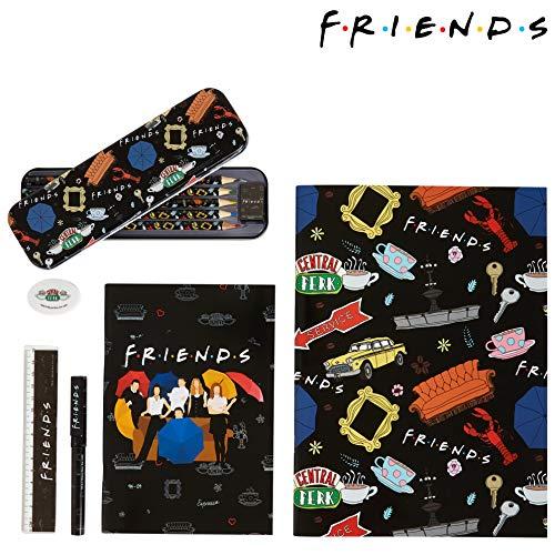 Friends Estuche Escolar, Kit Material Escolar Con Libretas Bonitas, Goma De Borrar Y Bolígrafo Original, Set Papelería Para Adolescentes y Adultos Fans de la Serie