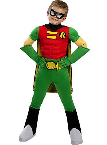 Funidelia   Disfraz de Robin Oficial para niño Talla 7-9 años ▶ Chico Maravilla, Superhéroes, DC Comics - Multicolor