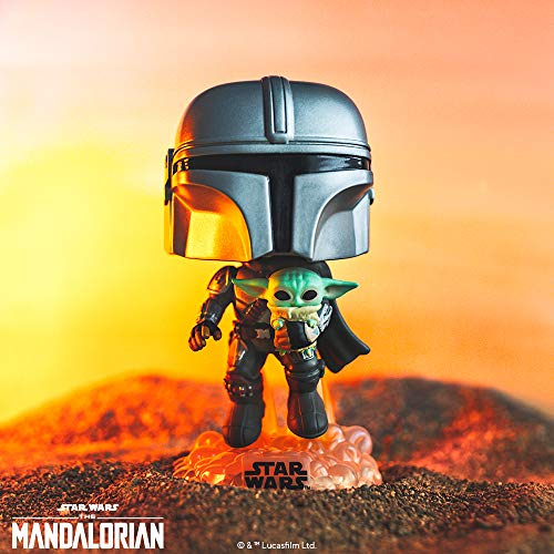 Funko- Pop Star Wars: The Mandalorian-Mando Flying w/Jet Pack Figura Coleccionable, Multicolor (50959)