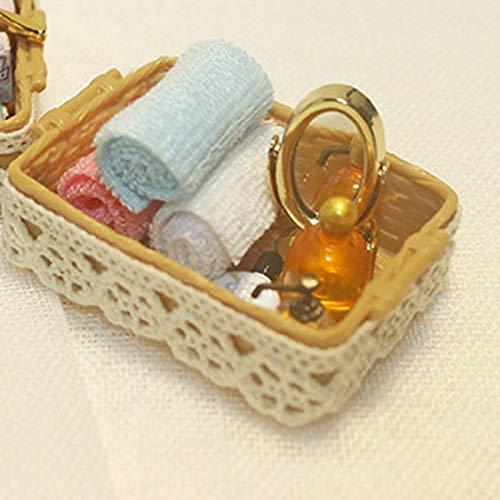 Gaoominy 1/12 Espejo Miniatura de Casa de Mu?Ecas + Perfume + Toalla + Rollo de Papel + Peine Accesorios de Casa de Mu?Ecas de Ba?O