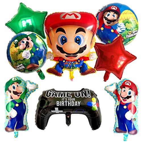 Globo de Super Mario Globo Redondo Globo de Foil Super Mario Decoración para Fiestas de Cumpleaños 9 Piezas