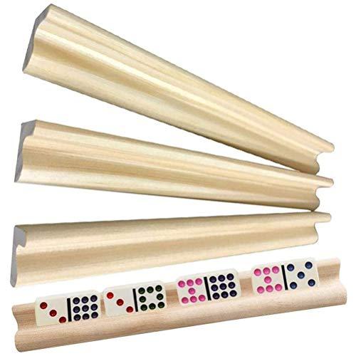 Gobbuy Azulejos de Tren Mexicano Letras de Madera Domino Rummikub Set 4 bandejas de dominó de Madera Soportes de dominó para Juegos de Palabras