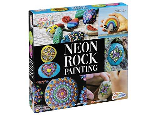Grafix Juego de pintura de piedra neón, pintura creativa, color que brilla en la oscuridad, regalo creativo para niños, incluye pincel, 5 colores neón, 1 color negro, 5 piedras y juego de pegatinas