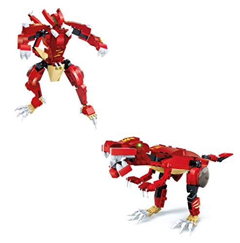 GUDI Kit 2 en 1 de construcción de Transformer. Arma un Robot o un Dinosaurio Tiranosaurio Rex