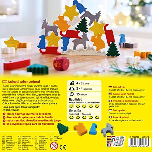 HABA 305528 - Animal sobre Animal - el Juego navideño de apilar, a Partir de 4 años
