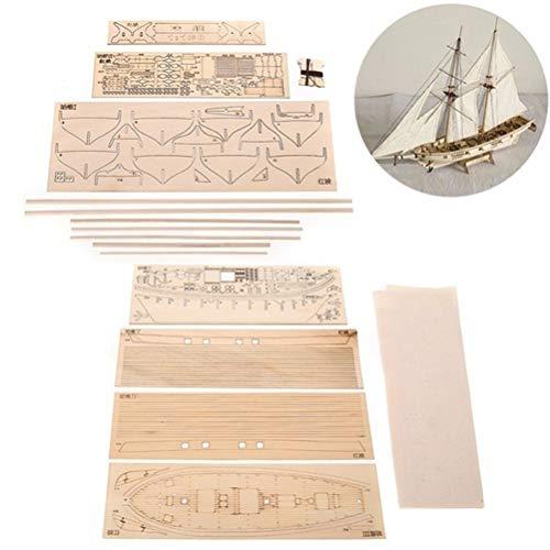 HEITIGN 1/100 Modelos de barcos de madera, Kit de barco de madera de bricolaje, Escala de modelo de barco de madera Hobby, Kit de modelo de madera de barco de vela Decoración de modelo