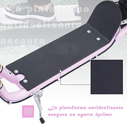 HOMCOM Patinete Scooter 2 Ruedas 16 Pulgadas Monopatín para Niños y Adultos Manillar Ajustable con 2 Frenos y Caballete Carga 100kg 143x58x92-100cm Rosa