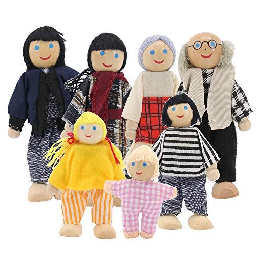 Homo Trends Casas de muñecas, juegos de 7 piezas, muebles de madera para casa de muñecas, casa de muñecas, accesorios para casa de muñecas, juguetes para niños, casa de familia, muebles en miniatura
