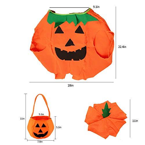 Homo Trends - Disfraz de calabaza de 57 cm de largo para niños ideal para Halloween, 1 juego de 3 piezas (ropa, sombrero y bolso de calabaza)