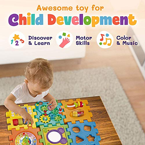 INvench Música Cubo Centro de Actividades - Ligero 6 en 1 Habilidades Motoras Juguetes educativos con luz de Sonido de 1 Años Regalo para bebés Niños