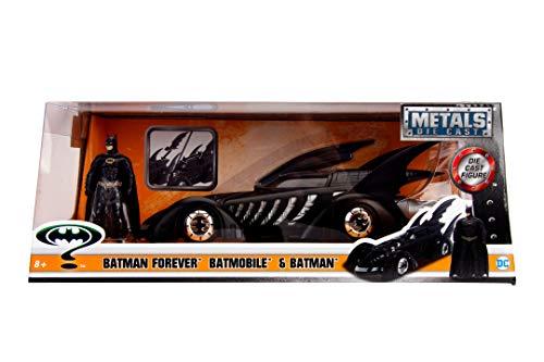 Jada - Coche Batmóvil de la Película Batman Forever de 1995, Escala 1:24, con Figura de Batman, Fabricado en Metal de Calidad Fundido a Presión, Las Puertas se Abren, para Niños a Partir de 8 Años