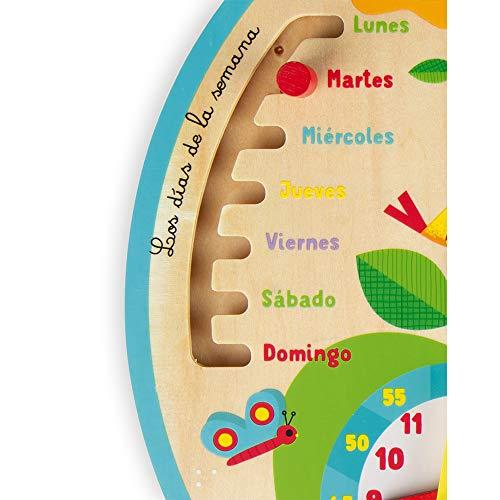 Janod- Calendario Educativo Infantil «A lo Largo del Tiempo» de Madera - Versión en español - A Partir de 3años (JURATOYS J09621)