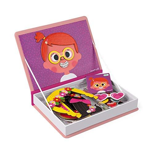 Janod - J02717 - Magneti'Book Crazy Faces (Libro magnético de caras locas) para chicas, juego magnético educativo con 55 piezas para niñas a partir de 3 años