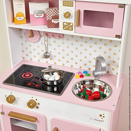 Janod - J06554 - Cocina Candy Chic de madera con nevera y microondas, 6 accesorios incluidos, sonido y luz, color rosa y blanco; juego de simulación para niños a partir de 3 años