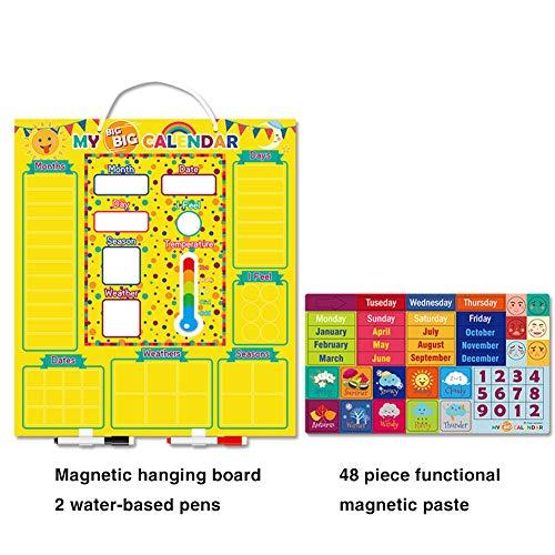 JAWSEU Calendario de Aprendizaje magnético,Juguetes con Calendario Magnético Diario,Calendario Magnético Diario para Niños,Calendario de Aula con Estación Meteorológica